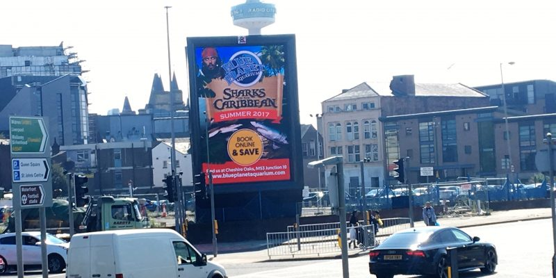 blue planet in liverpool with logo